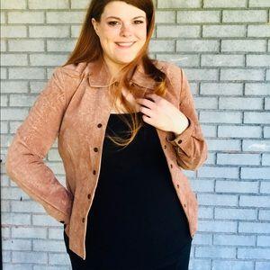 Live a little vintage M light brown floral jacket